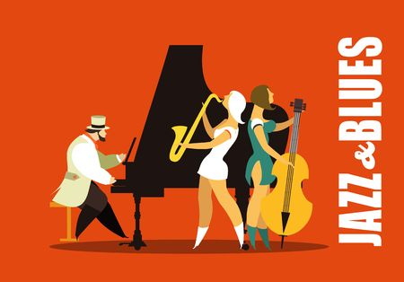 jazz music: Abstract jazz band, Jazz music party invitation design vector illustration