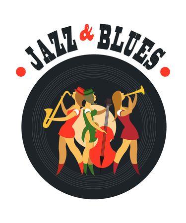 jazz band: Abstract jazz band, Jazz music party invitation design vector illustration