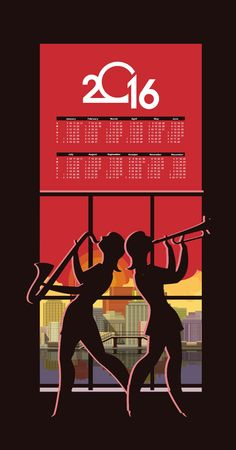 Abstract jazz. against the backdrop of the city at night silhouette of a girl playing the saxophone calendar 2016