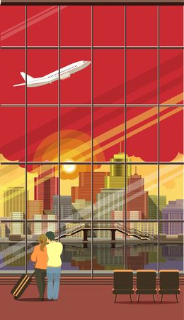 overlooking: Vertical Vector illustration of airport lounge with large windows overlooking the city is a couple in love