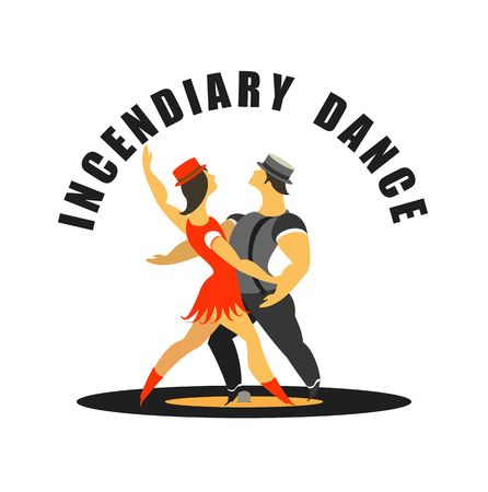 incendiary: Abstract poster dances movement, vector illustration stylized characters