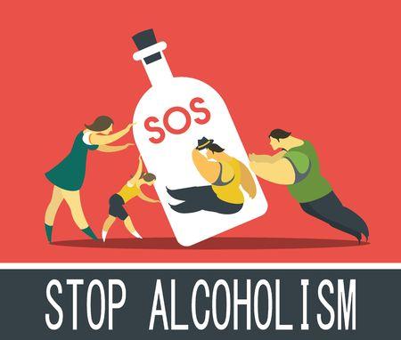 alcool: Résumé affiche sur la question de la dépendance à l'alcool dans un style plat