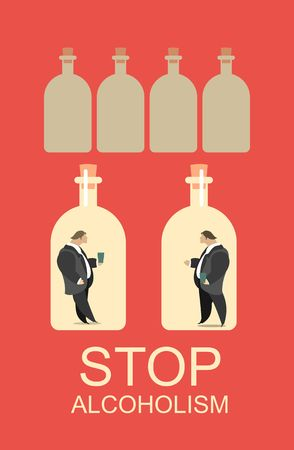 dependence: Abstract poster about the issue of alcohol dependence in a flat style Illustration