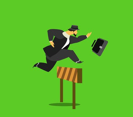steeplechase: vector illustration stylized businessman character in different situations Business