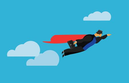 superman: vector illustration stylized businessman character in different situations Business