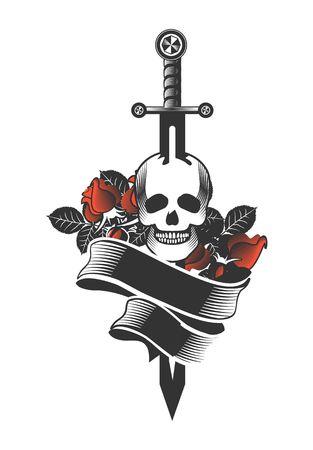 dagger: vector vintage emblem of a human skull and a sword, heraldry and symbols Illustration
