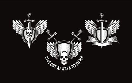 Set Vector Vintage Emblem Of A Human Skull And A Sword Heraldry