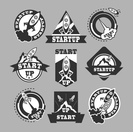 astronautics: set of black and white icons of missiles on a gray background Illustration