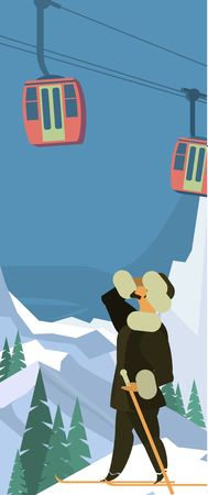 winter car: Vertical Vector illustration of a winter landscape with a cable car against the sky and mountains
