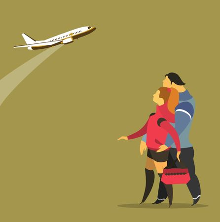 taking off: stylized characters, young people looking at a plane taking off