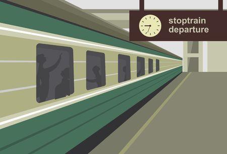 tren caricatura: Ilustración vectorial horizontal de un andén de la estación de tren del tren Vectores