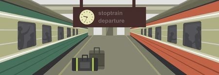 cartoon clock: vector illustration of a train station platform of the train