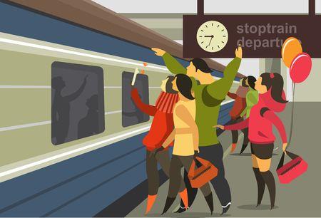 tren: Ilustración vectorial horizontal de un andén de la estación de tren de la gente del tren para cumplir con el tren Vectores