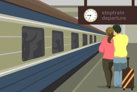 Ilustración vectorial horizontal de un andén de la estación de tren de la gente del tren para cumplir con el tren Foto de archivo - 46037903