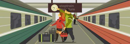 tren caricatura: Ilustración vectorial horizontal de un andén de la estación de tren de la gente del tren para cumplir con el tren Vectores