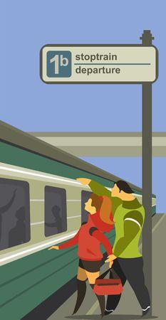 tren caricatura: ilustración vectorial de un andén de la estación de tren de la gente del tren para cumplir con el tren