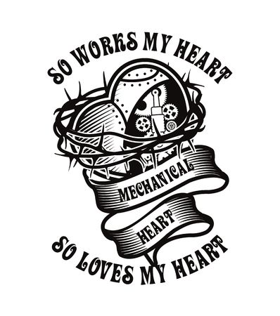 metal parts: Illustration poster with mechanical heart with lots of metal parts in steel wire spines Chenoa white version Illustration