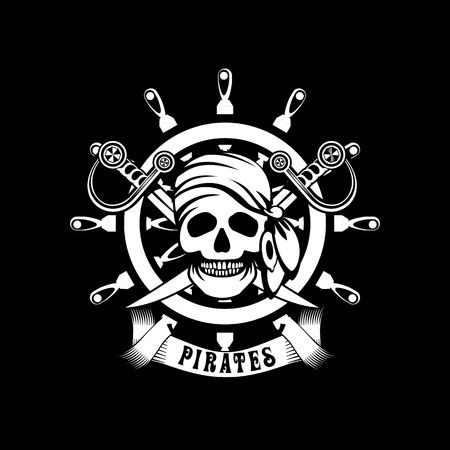 corsair: Illustration poster with a human skull on a background of sea helm emblem Black and white in color