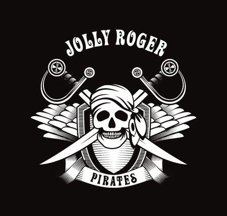 drapeau pirate: affiche Illustration avec un crâne humain dans un emblème de bandana et boucles d'oreilles avec des ailes