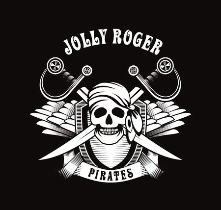 pirate flag: Illustration poster with a human skull in a bandana and earring emblem with wings Illustration