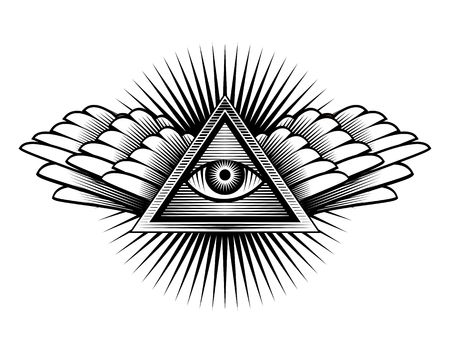 archeology: Illustration poster design element sign Egyptian eye with wings in a triangle on a white background