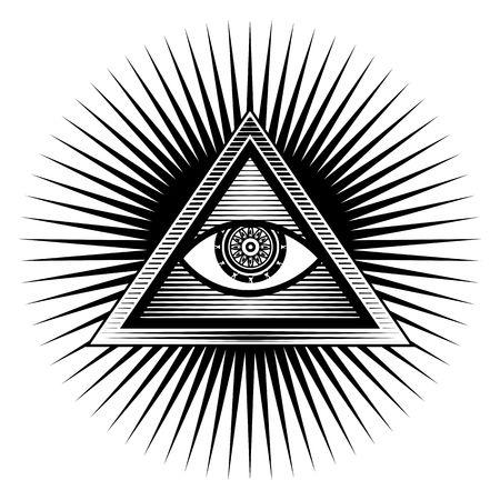 ojo de horus: Cartel ilustraci�n elemento de dise�o firmar ojo egipcio en un tri�ngulo sobre un fondo blanco