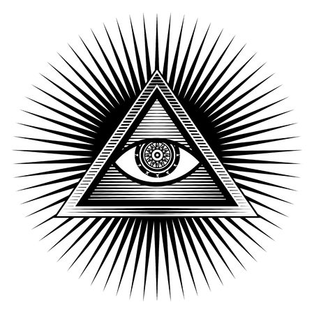 eye of providence: Illustration poster design element sign Egyptian eye in a triangle on a white background