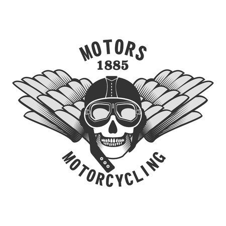 casco de moto: vector skull emblem motorcycle helmet and motorcycle glasses on a white background Vectores