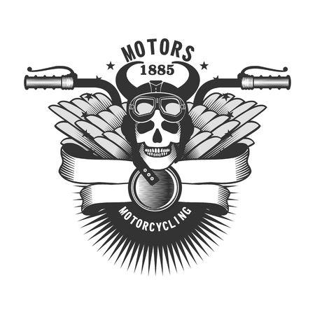 jinete: cráneo del vector del casco de la motocicleta emblema y moto gafas en un fondo blanco
