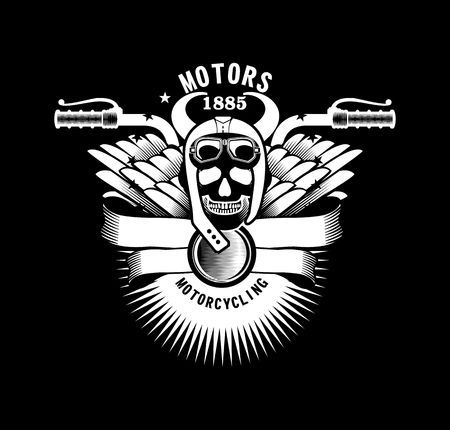 motorcyclist: vector emblem human skull helmeted motorcyclist with horns and wings on a black background motorcycle