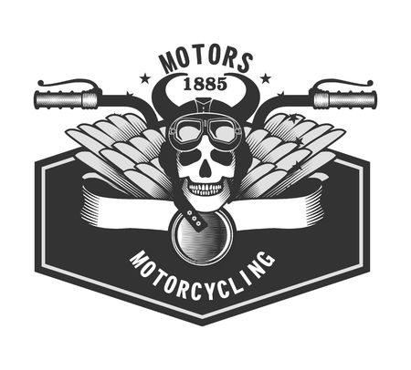 motorcyclist: vector emblem human skull helmeted motorcyclist with horns and wings on a white background