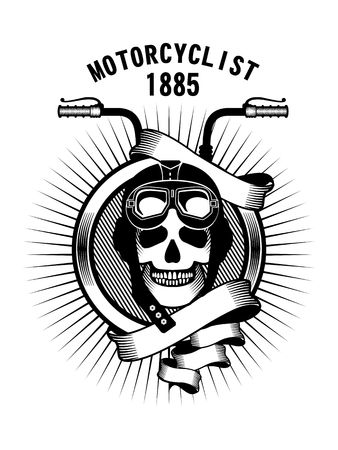 motorcycle: vector emblem human skull wearing a helmet and driving a motorcycle rider