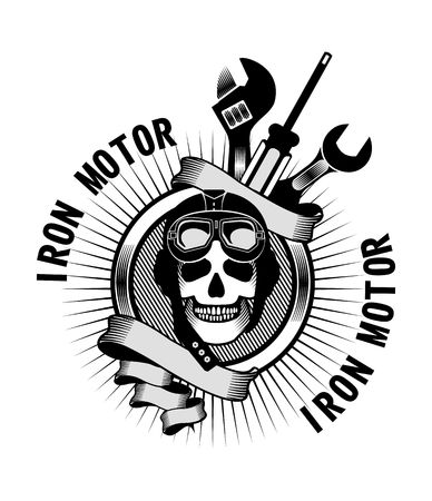 motorcyclist: vector emblem human skull helmeted motorcyclist and tools for repair and banners