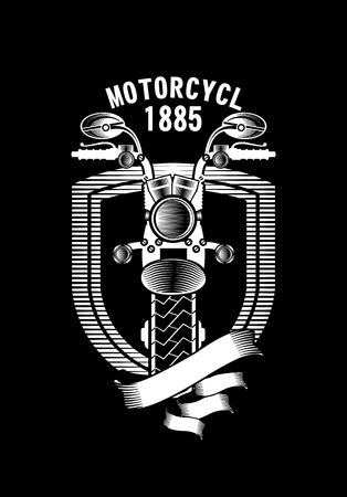 vintage art: vector emblem motorcycle Steampunk on a black background Illustration