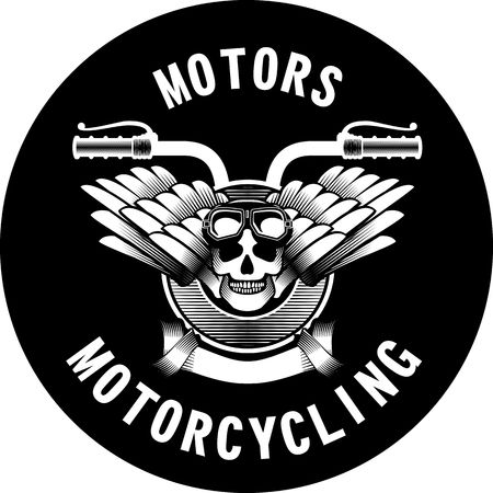 motorcycle: vector emblem retro motorcycle in the steampunk style on a white background Illustration