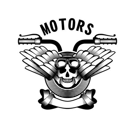 iron ribbon: vector emblem retro motorcycle in the steampunk style on a white background Illustration