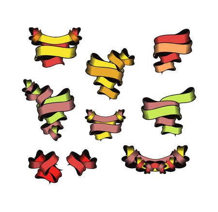 complexity: Vector set of decorative ribbons of various shapes and complexity on a white background