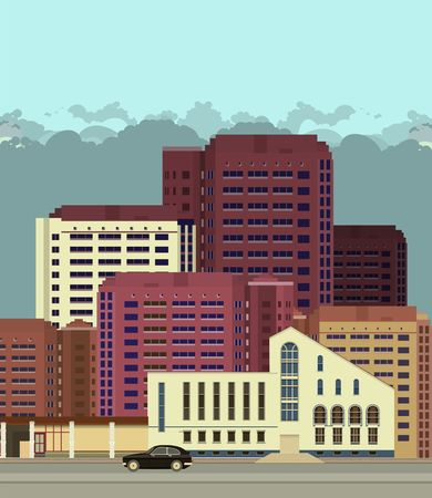 shanghai skyline: vector illustration urban background view of city streets in flat style