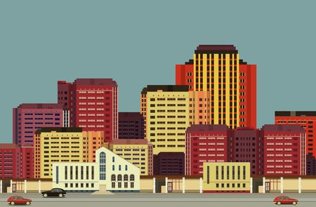 multistory: vector illustration urban background view of city streets in flat style