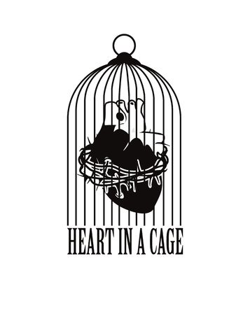 barbed wire: vector illustration of the human heart is tied with barbed wire in the cage Illustration