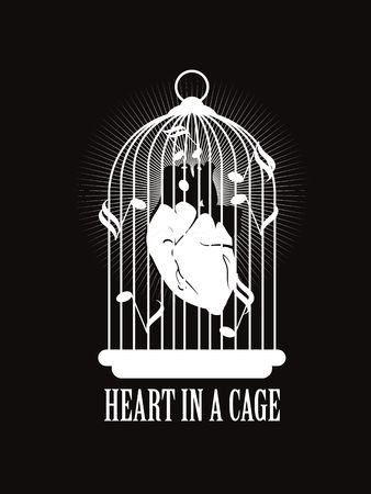 corazon humano: vector illustration of the human heart is tied with barbed wire in the cage Vectores