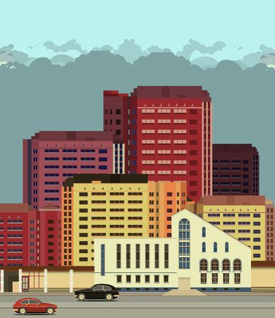 midtown: vector illustration urban background view of city streets in flat style