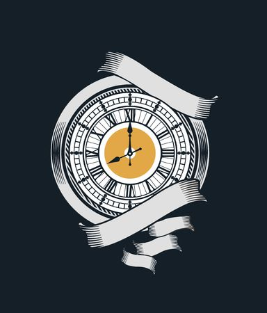 mechanist: vector illustration of mechanical watches in the style of steampunk with ribbons