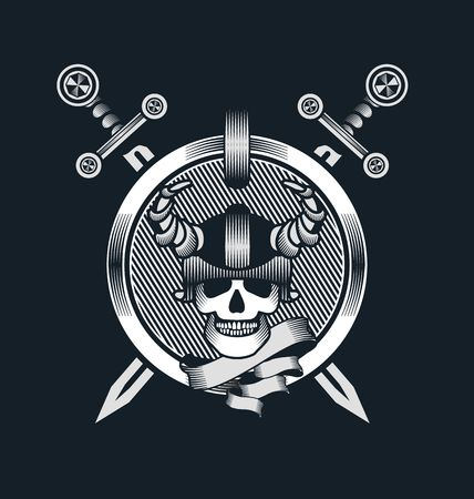 battle evil: vector illustration in the style of steampunk human skull in a helmet with swords