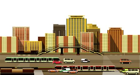 motorway: vector illustration of the industrial landscape of the city motorway and transport on a white background Illustration