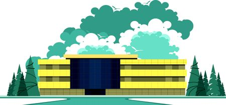 shop show window: vector illustration building of a sports complex on a white background