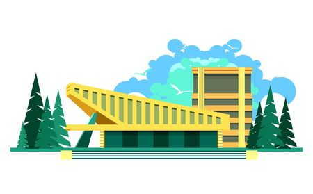 mansard: vector illustration building of a sports complex on a white background