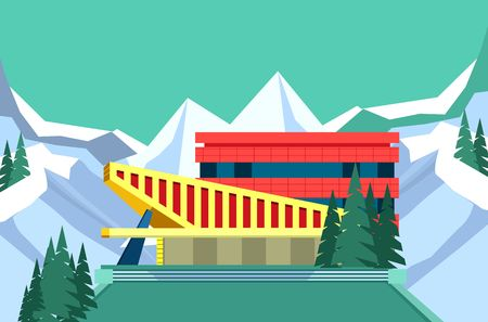 erection: vector illustration building of a sports complex on a white background