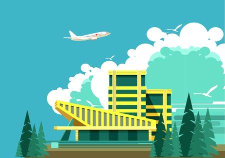 mansard: vector illustration building a large sports center stadium or hostel