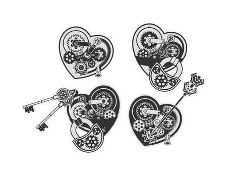 heart symbol: set mechanical heart in the style of steampunk with small moving parts on a white background